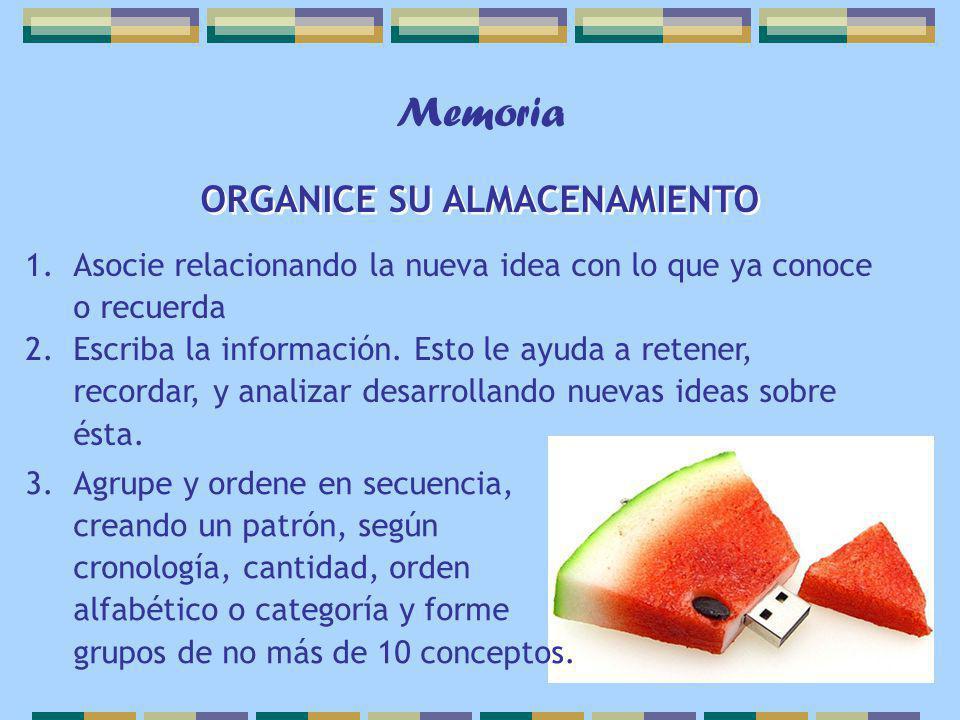 3.Agrupe y ordene en secuencia, creando un patrón, según cronología, cantidad, orden alfabético o categoría y forme grupos de no más de 10 conceptos.