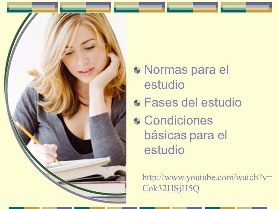 Normas para el estudio Fases del Estudio Condiciones para el Estudio Motivación Pasos para Resolver un Problema Memoria Descanso y Relajación Cómo confeccionar un Horario de estudio Atención y Concentración