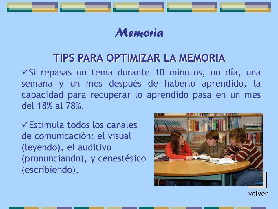 Memoria TIPS PARA OPTIMIZAR LA MEMORIA Si repasas un tema durante 10 minutos, un día, una semana y un mes después de haberlo aprendido, la capacidad para recuperar lo aprendido pasa en un mes del 18% al 78%.
