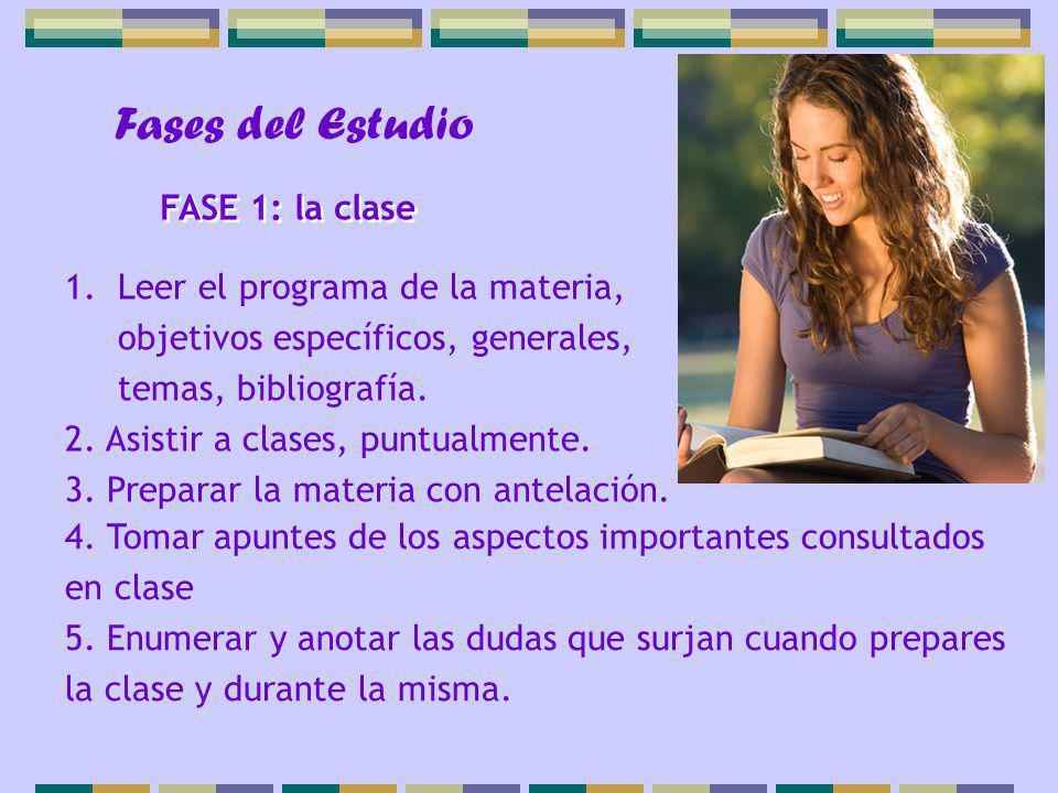Fases del Estudio 1.Leer el programa de la materia, objetivos específicos, generales, temas, bibliografía. 2. Asistir a clases, puntualmente. 3. Prepa