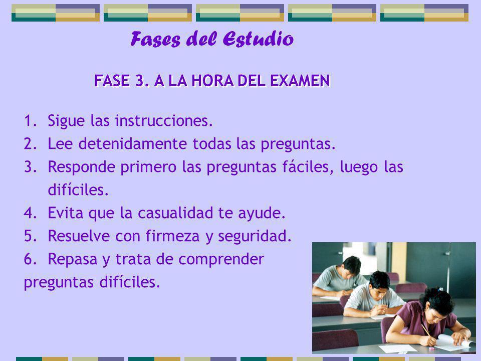 Fases del Estudio 1.Sigue las instrucciones. 2.Lee detenidamente todas las preguntas. 3.Responde primero las preguntas fáciles, luego las difíciles. 4