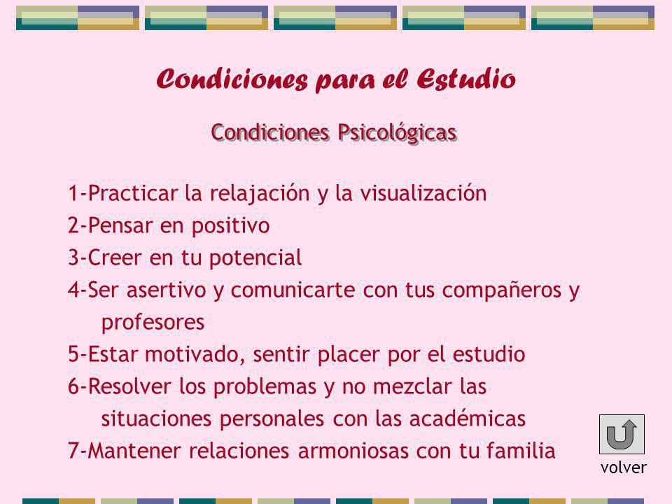 Condiciones para el Estudio 1-Practicar la relajación y la visualización 2-Pensar en positivo 3-Creer en tu potencial 4-Ser asertivo y comunicarte con