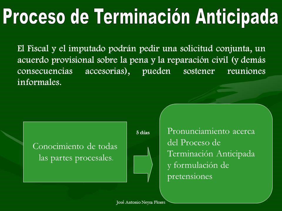 José Antonio Neyra Flores Conocimiento de todas las partes procesales. 5 días Pronunciamiento acerca del Proceso de Terminación Anticipada y formulaci