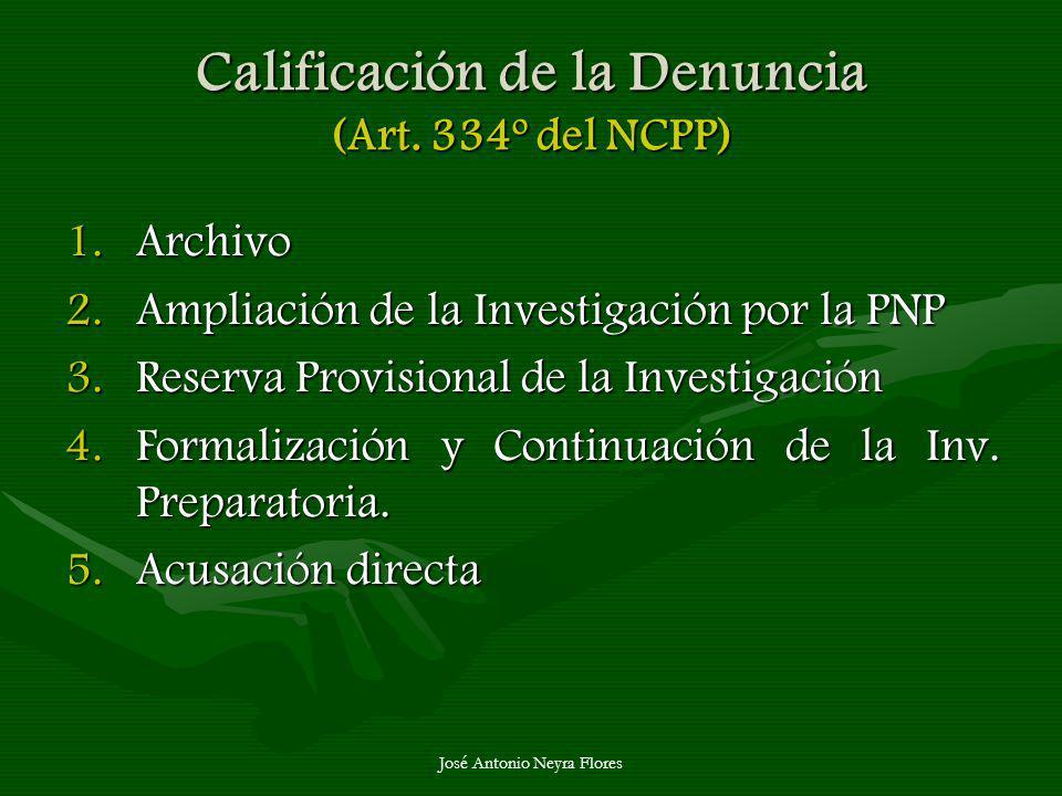 Calificación de la Denuncia (Art. 334º del NCPP) 1.Archivo 2.Ampliación de la Investigación por la PNP 3.Reserva Provisional de la Investigación 4.For