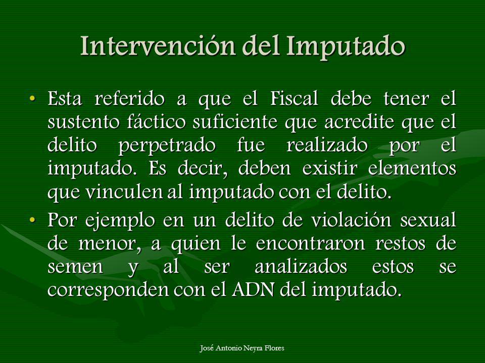 José Antonio Neyra Flores Intervención del Imputado Esta referido a que el Fiscal debe tener el sustento fáctico suficiente que acredite que el delito