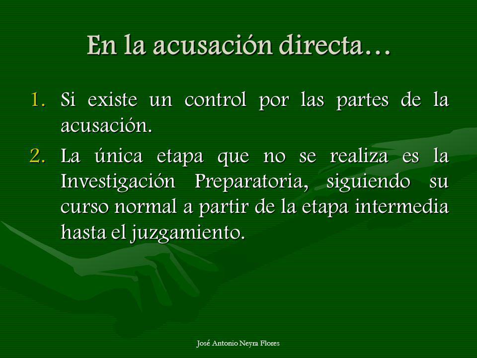 José Antonio Neyra Flores En la acusación directa… 1.Si existe un control por las partes de la acusación. 2.La única etapa que no se realiza es la Inv