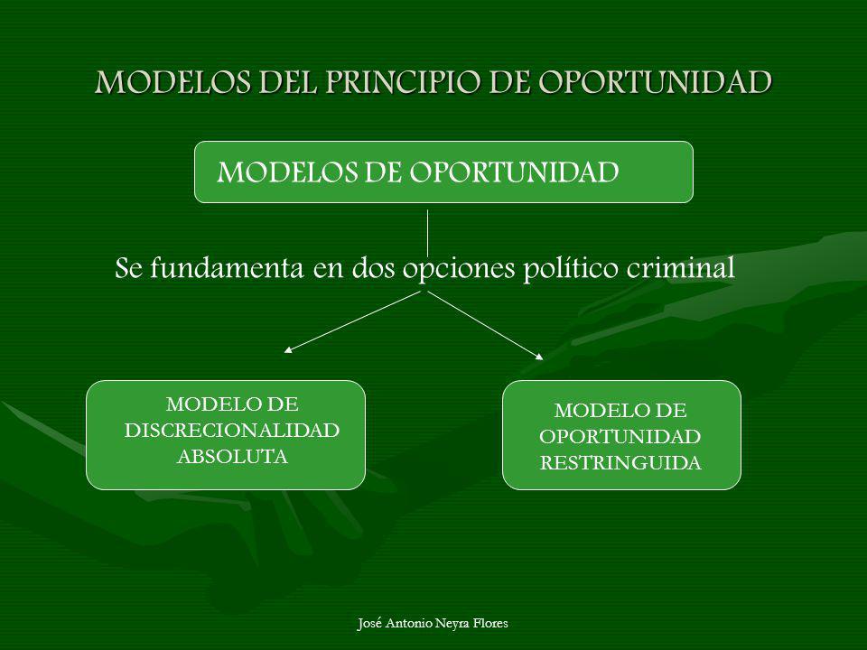 José Antonio Neyra Flores MODELOS DEL PRINCIPIO DE OPORTUNIDAD MODELOS DE OPORTUNIDAD Se fundamenta en dos opciones político criminal MODELO DE DISCRE