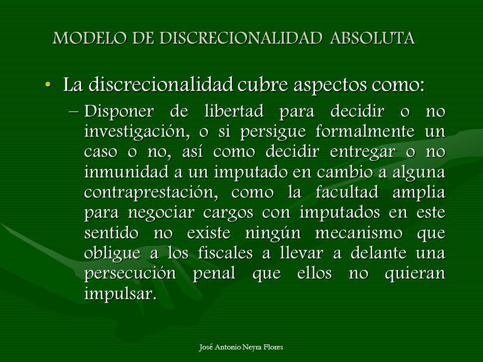 José Antonio Neyra Flores MODELO DE DISCRECIONALIDAD ABSOLUTA La discrecionalidad cubre aspectos como:La discrecionalidad cubre aspectos como: –Dispon