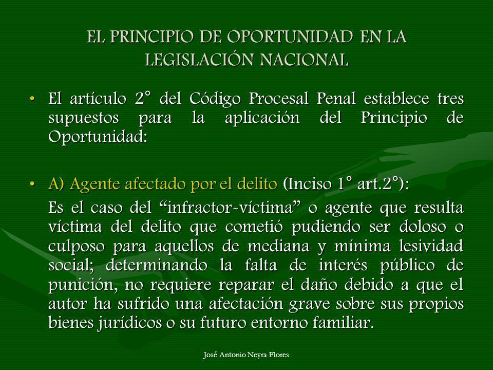 José Antonio Neyra Flores EL PRINCIPIO DE OPORTUNIDAD EN LA LEGISLACIÓN NACIONAL El artículo 2° del Código Procesal Penal establece tres supuestos par