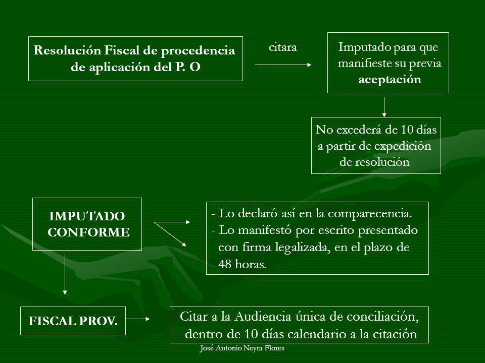 José Antonio Neyra Flores Resolución Fiscal de procedencia de aplicación del P. O citara Imputado para que manifieste su previa aceptación No excederá