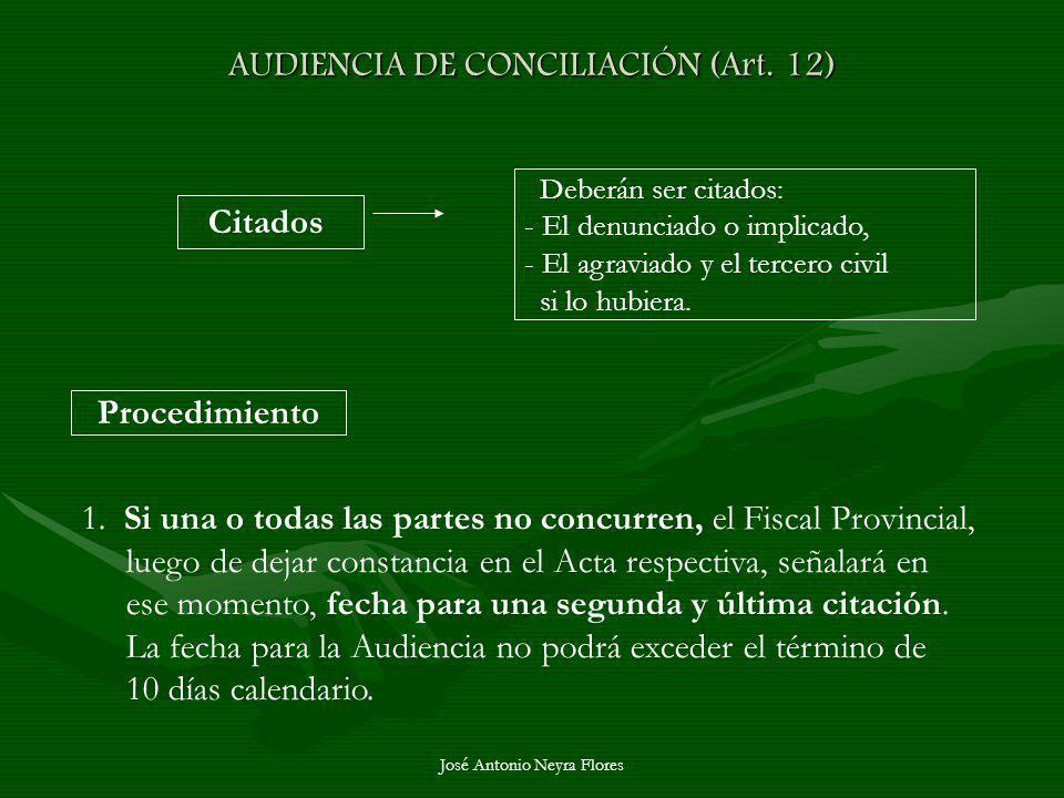 José Antonio Neyra Flores AUDIENCIA DE CONCILIACIÓN (Art. 12) Citados Deberán ser citados: - El denunciado o implicado, - El agraviado y el tercero ci