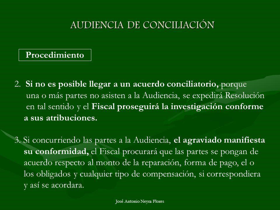 José Antonio Neyra Flores AUDIENCIA DE CONCILIACIÓN Procedimiento 2. Si no es posible llegar a un acuerdo conciliatorio, porque una o más partes no as