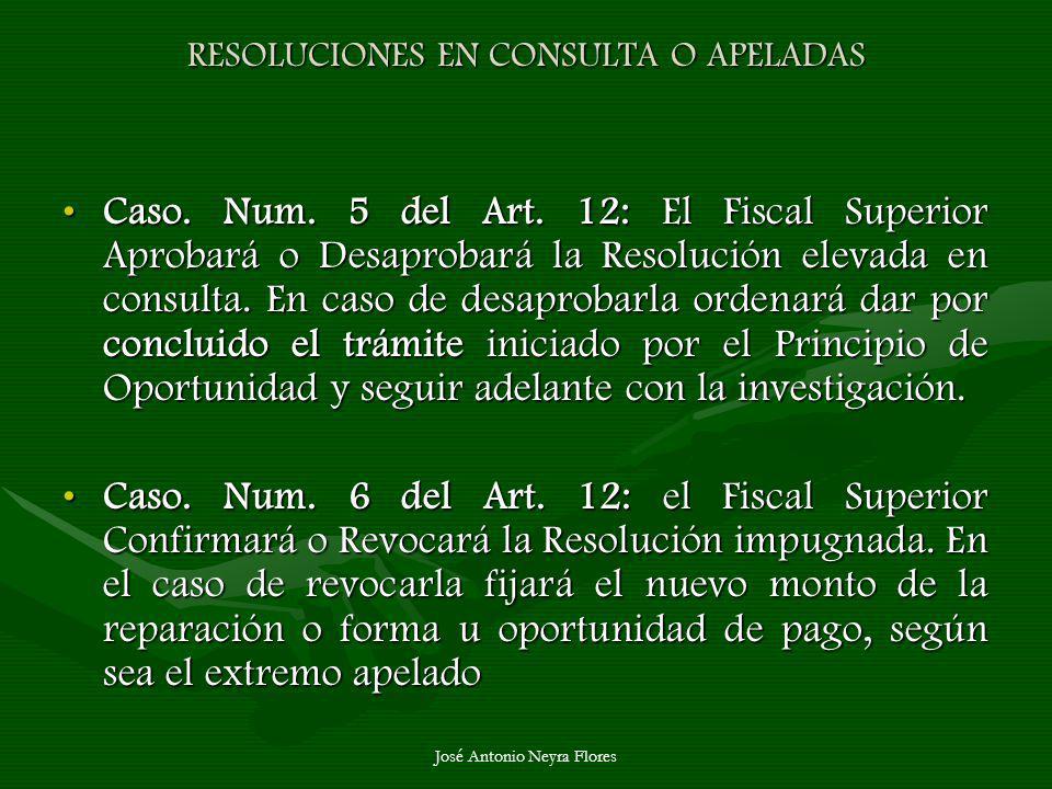 José Antonio Neyra Flores RESOLUCIONES EN CONSULTA O APELADAS Caso. Num. 5 del Art. 12: El Fiscal Superior Aprobará o Desaprobará la Resolución elevad