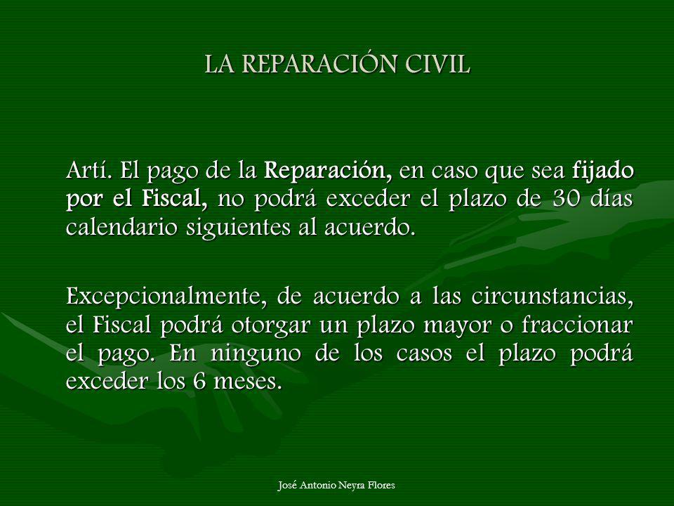 José Antonio Neyra Flores LA REPARACIÓN CIVIL Artí. El pago de la Reparación, en caso que sea fijado por el Fiscal, no podrá exceder el plazo de 30 dí