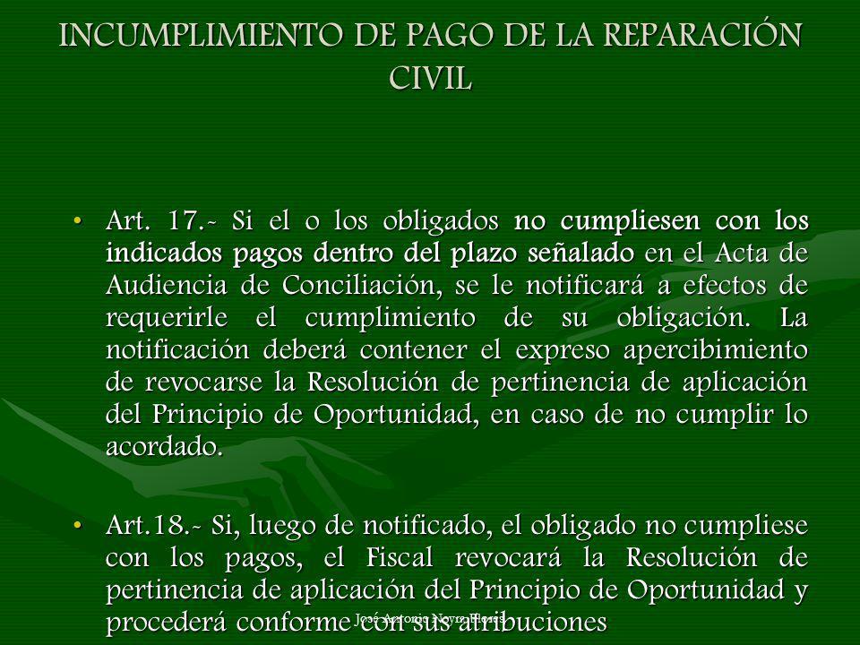 José Antonio Neyra Flores INCUMPLIMIENTO DE PAGO DE LA REPARACIÓN CIVIL Art. 17.- Si el o los obligados no cumpliesen con los indicados pagos dentro d
