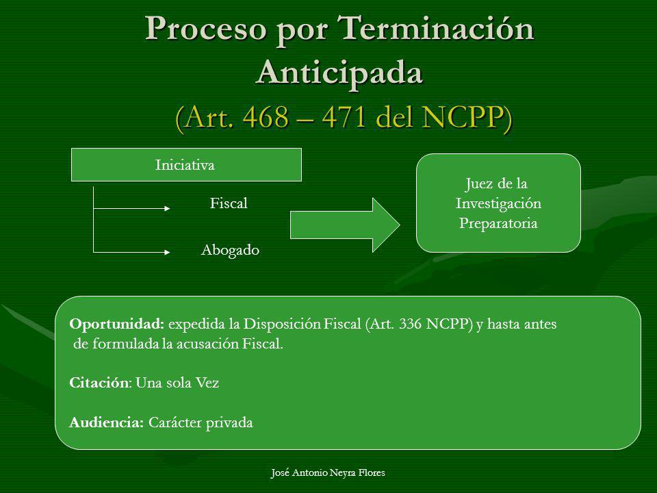 José Antonio Neyra Flores Proceso por Terminación Anticipada (Art. 468 – 471 del NCPP) Iniciativa Fiscal Abogado Juez de la Investigación Preparatoria