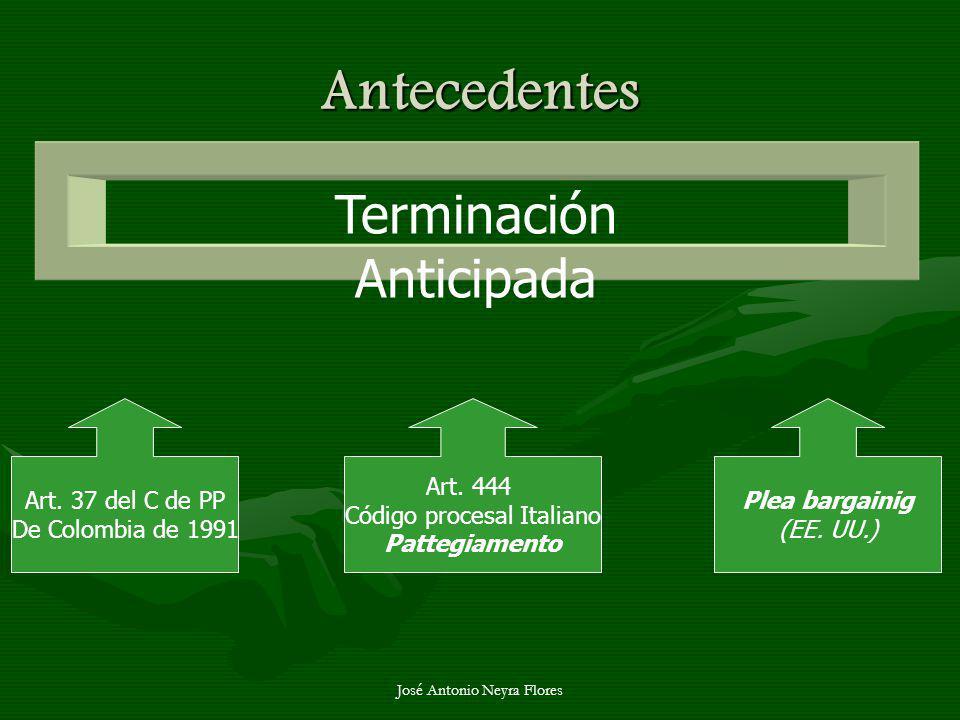 José Antonio Neyra Flores Antecedentes Terminación Anticipada Art. 37 del C de PP De Colombia de 1991 Art. 444 Código procesal Italiano Pattegiamento