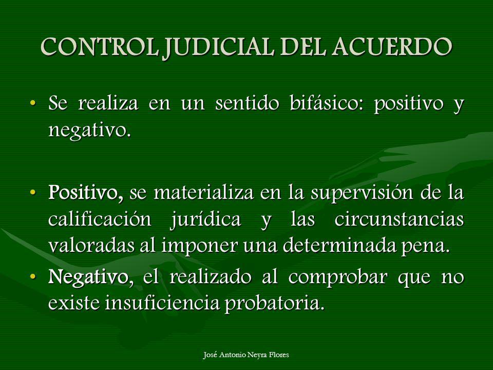 José Antonio Neyra Flores CONTROL JUDICIAL DEL ACUERDO Se realiza en un sentido bifásico: positivo y negativo.Se realiza en un sentido bifásico: posit