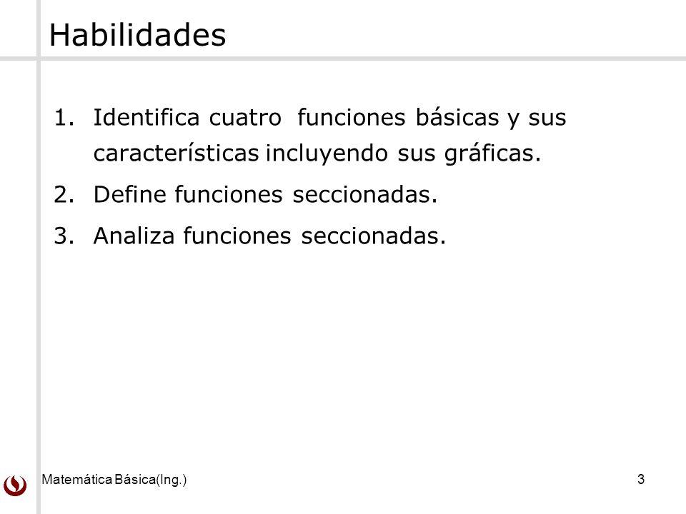 Matemática Básica(Ing.)3 Habilidades 1.Identifica cuatro funciones básicas y sus características incluyendo sus gráficas. 2.Define funciones seccionad