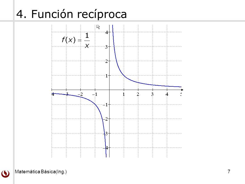 Matemática Básica(Ing.)7 4. Función recíproca