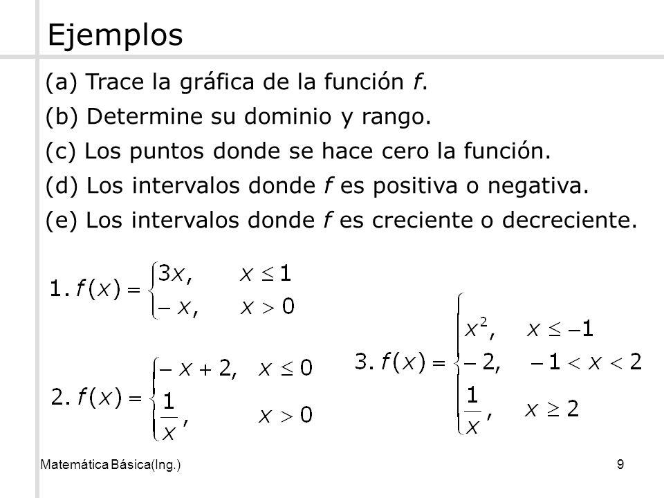 Matemática Básica(Ing.)9 (a) Trace la gráfica de la función f. (b) Determine su dominio y rango. (c) Los puntos donde se hace cero la función. (d) Los