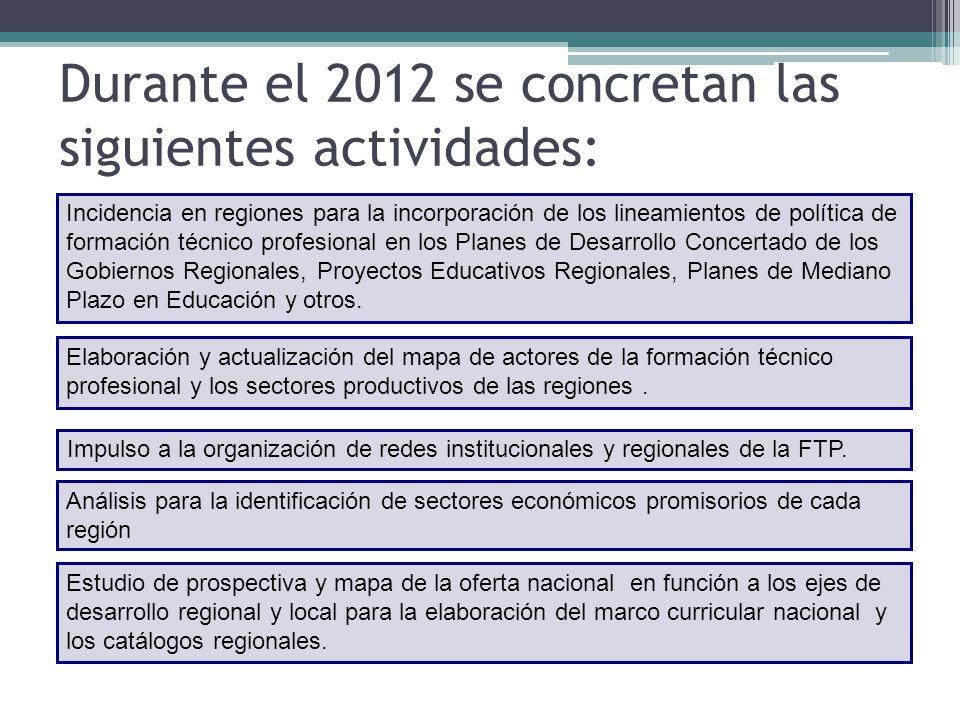 Durante el 2012 se concretan las siguientes actividades: Incidencia en regiones para la incorporación de los lineamientos de política de formación técnico profesional en los Planes de Desarrollo Concertado de los Gobiernos Regionales, Proyectos Educativos Regionales, Planes de Mediano Plazo en Educación y otros.