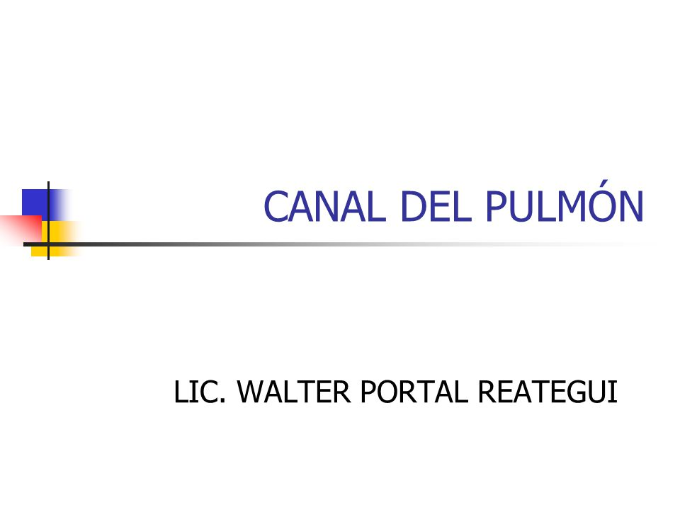 CANAL DEL PULMÓN LIC. WALTER PORTAL REATEGUI