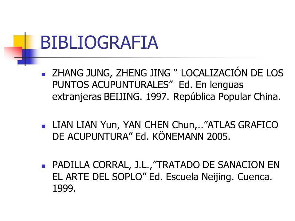 BIBLIOGRAFIA ZHANG JUNG, ZHENG JING LOCALIZACIÓN DE LOS PUNTOS ACUPUNTURALES Ed. En lenguas extranjeras BEIJING. 1997. República Popular China. LIAN L