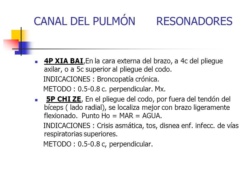 CANAL DEL PULMÓN RESONADORES 4P XIA BAI,En la cara externa del brazo, a 4c del pliegue axilar, o a 5c superior al pliegue del codo. INDICACIONES : Bro