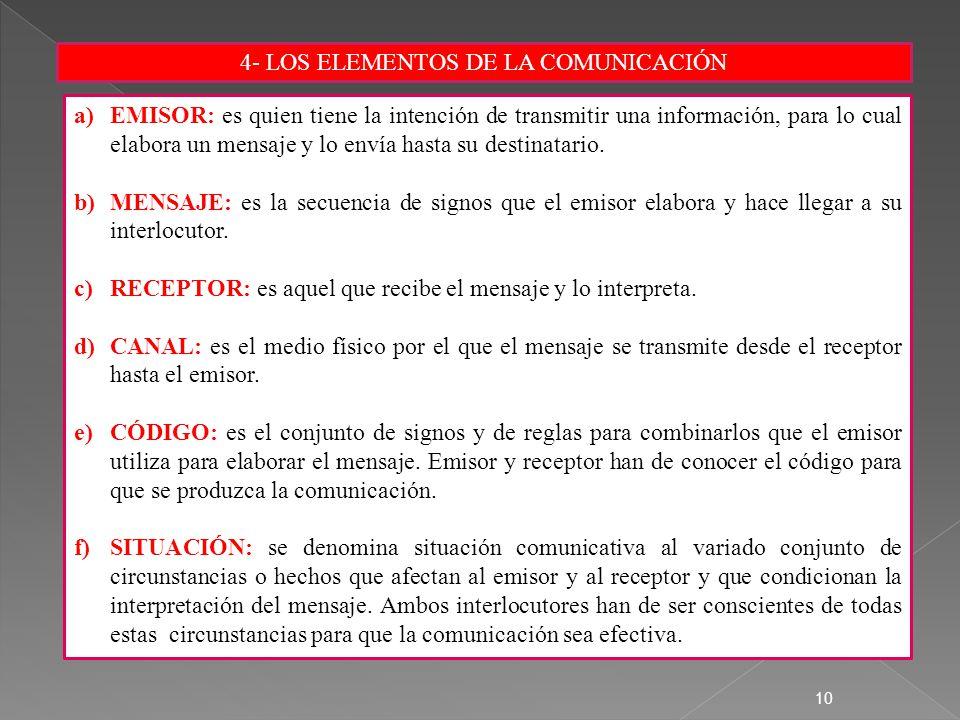 4- LOS ELEMENTOS DE LA COMUNICACIÓN 10 a)EMISOR: es quien tiene la intención de transmitir una información, para lo cual elabora un mensaje y lo envía