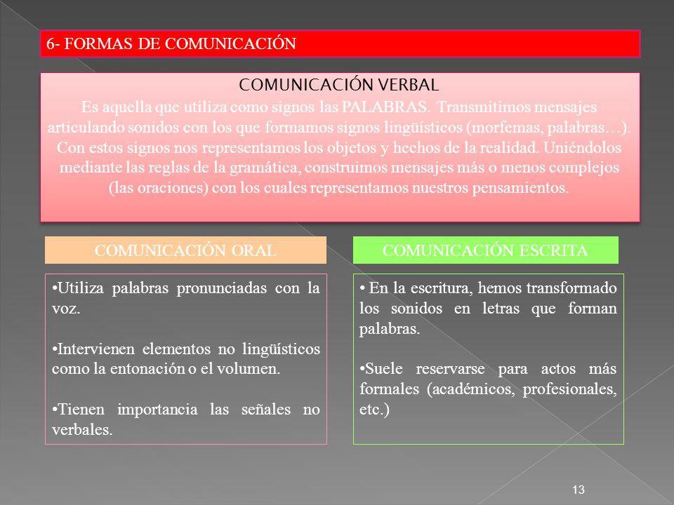 6- FORMAS DE COMUNICACIÓN 13 COMUNICACIÓN VERBAL Es aquella que utiliza como signos las PALABRAS. Transmitimos mensajes articulando sonidos con los qu