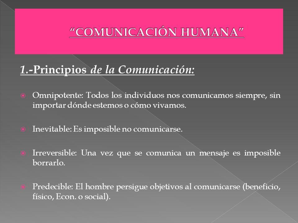 1.- Principios de la Comunicación: Omnipotente: Todos los individuos nos comunicamos siempre, sin importar dónde estemos o cómo vivamos. Inevitable: E