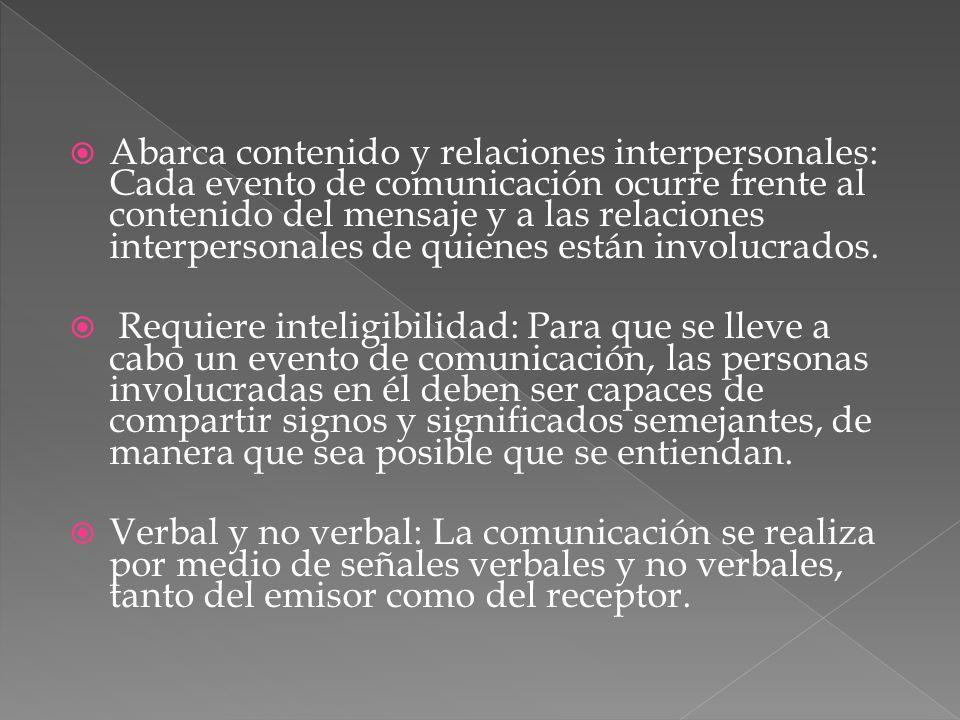 Abarca contenido y relaciones interpersonales: Cada evento de comunicación ocurre frente al contenido del mensaje y a las relaciones interpersonales d