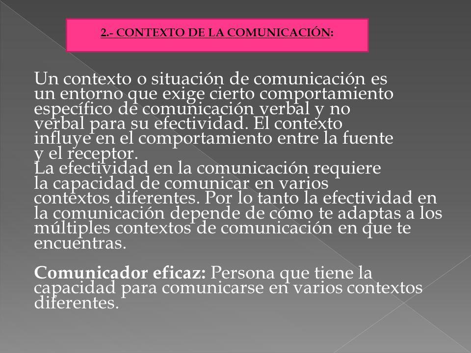 Un contexto o situación de comunicación es un entorno que exige cierto comportamiento específico de comunicación verbal y no verbal para su efectivida
