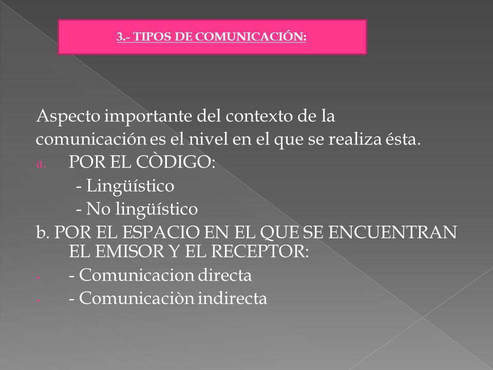 Aspecto importante del contexto de la comunicación es el nivel en el que se realiza ésta. a. POR EL CÒDIGO: - Lingüístico - No lingüístico b. POR EL E