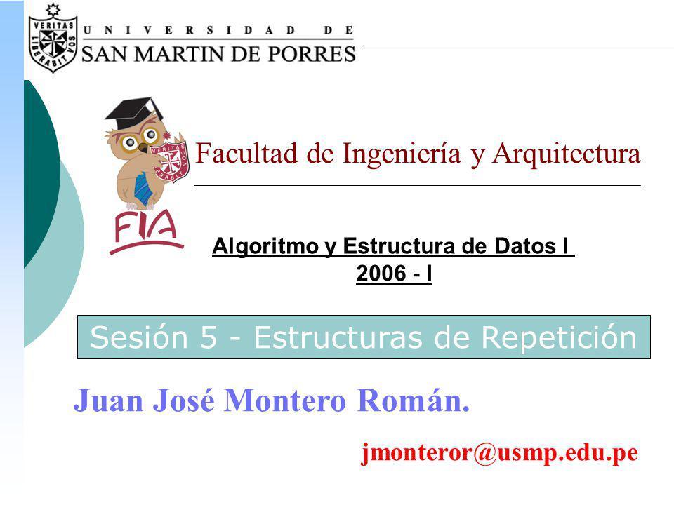 Algoritmo y Estructura de Datos I 2006 - I Facultad de Ingeniería y Arquitectura Juan José Montero Román.
