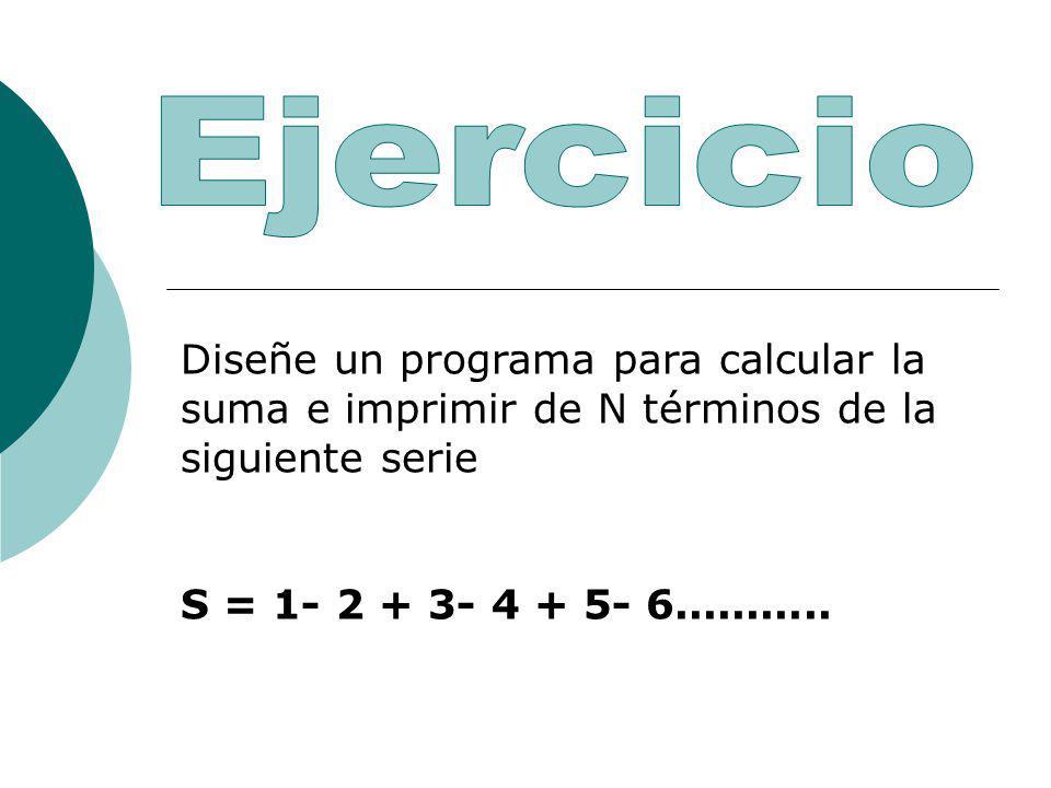 Diseñe un programa para calcular la suma e imprimir de N términos de la siguiente serie S = 1- 2 + 3- 4 + 5- 6...........