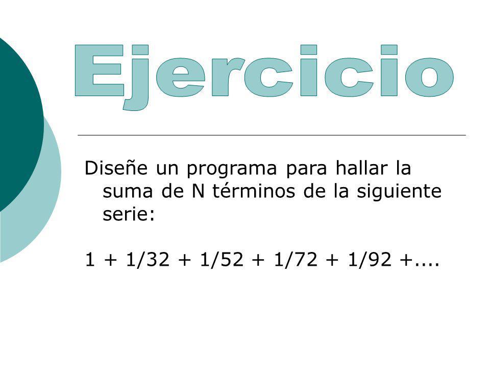Diseñe un programa para hallar la suma de N términos de la siguiente serie: 1 + 1/32 + 1/52 + 1/72 + 1/92 +....