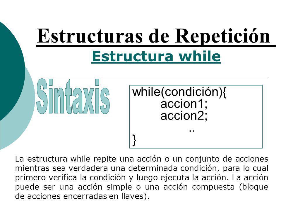 Estructuras de Repetición Estructura while while(condición){ accion1; accion2;..