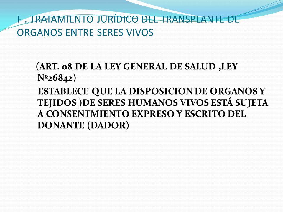 G. TRATAMIENTO JURÍDICO DEL TRASPLANTE DE ORGANOS DE UNA PERSONA MUERTA A PERSONA VIVA.