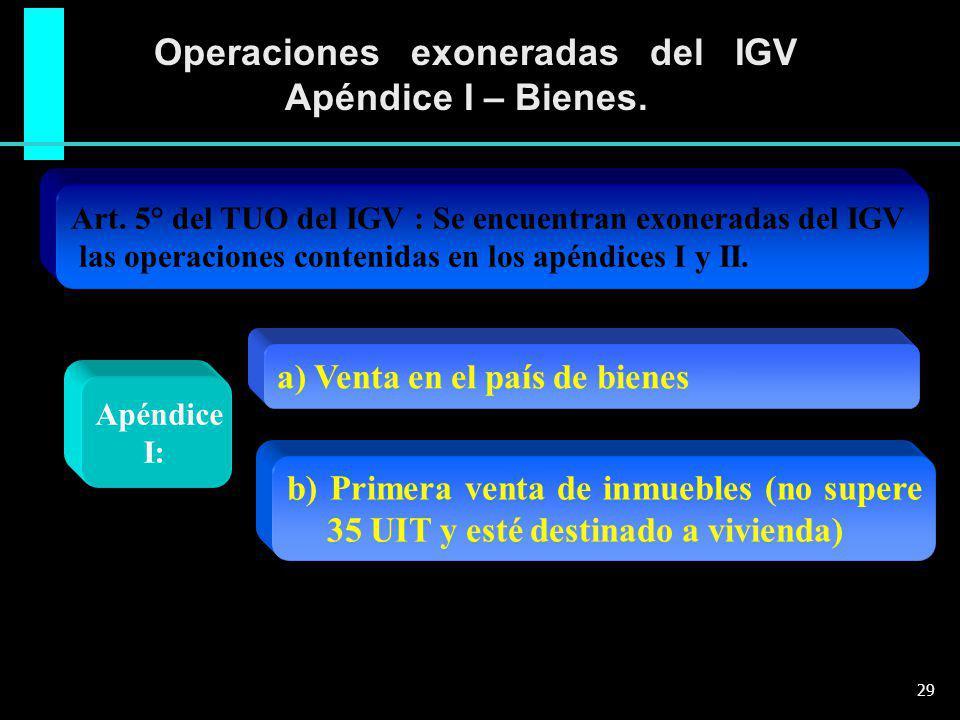 Operaciones exoneradas del IGV Apéndice I – Bienes. Apéndice I: Art. 5° del TUO del IGV : Se encuentran exoneradas del IGV las operaciones contenidas