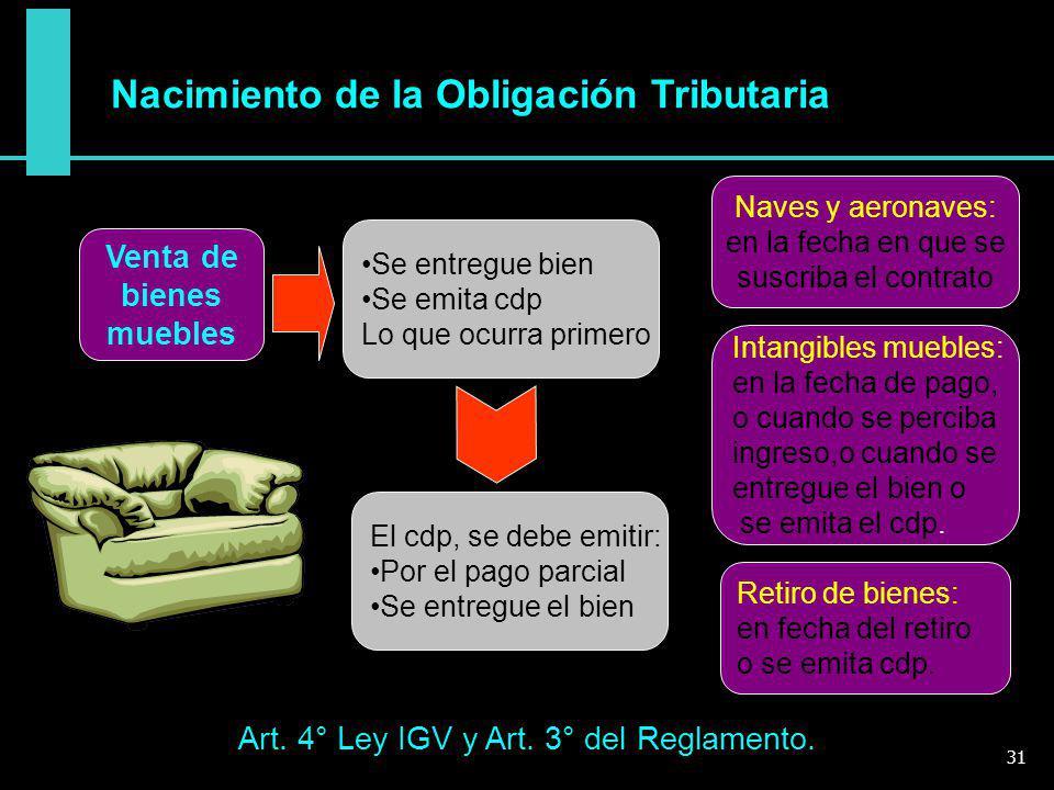 Nacimiento de la Obligación Tributaria Art. 4° Ley IGV y Art. 3° del Reglamento. Venta de bienes muebles Se entregue bien Se emita cdp Lo que ocurra p