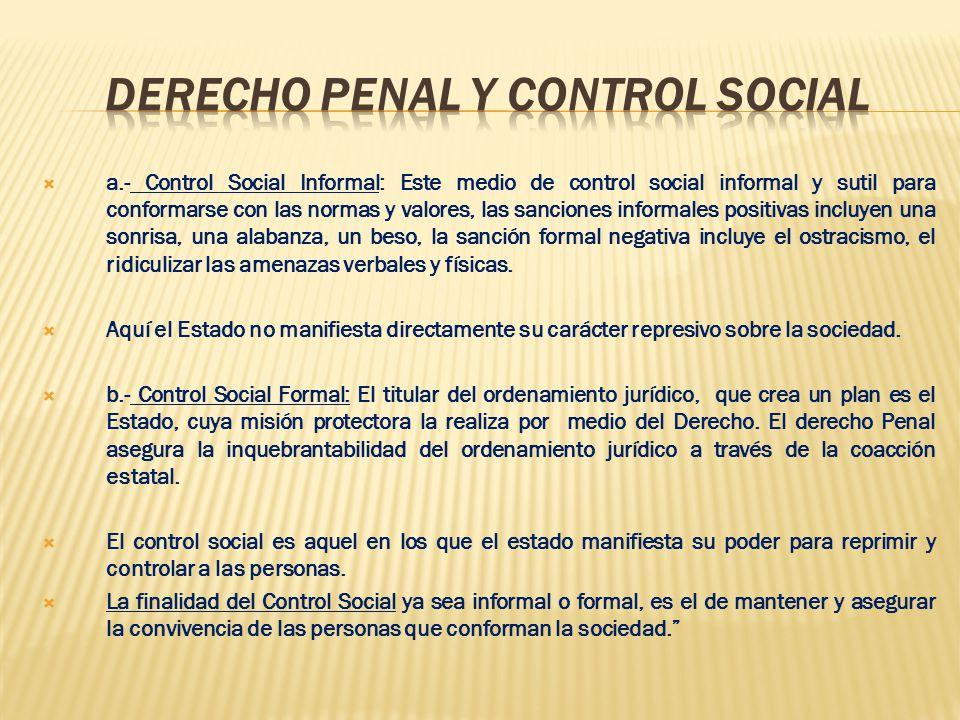 a.- Control Social Informal: Este medio de control social informal y sutil para conformarse con las normas y valores, las sanciones informales positiv