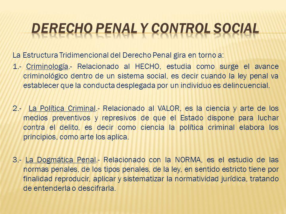 La Estructura Tridimencional del Derecho Penal gira en torno a: 1.- Criminología.- Relacionado al HECHO, estudia como surge el avance criminológico de