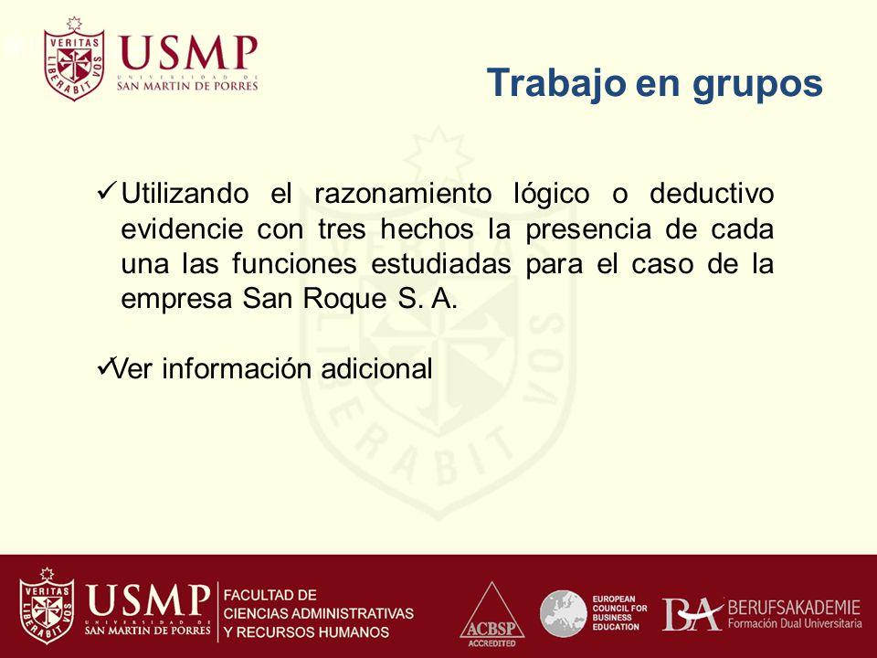 Trabajo en grupos Utilizando el razonamiento lógico o deductivo evidencie con tres hechos la presencia de cada una las funciones estudiadas para el caso de la empresa San Roque S.