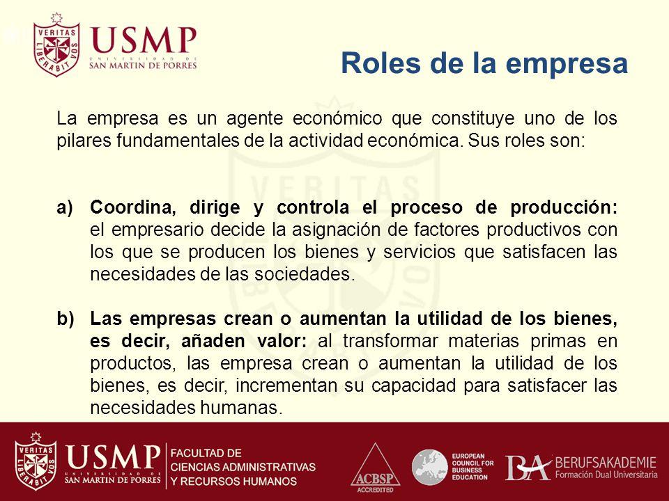 Roles de la empresa La empresa es un agente económico que constituye uno de los pilares fundamentales de la actividad económica. Sus roles son: a)Coor