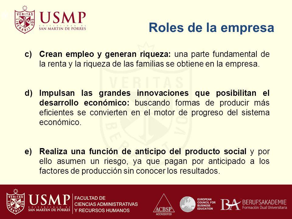 Roles de la empresa c)Crean empleo y generan riqueza: una parte fundamental de la renta y la riqueza de las familias se obtiene en la empresa. d)Impul