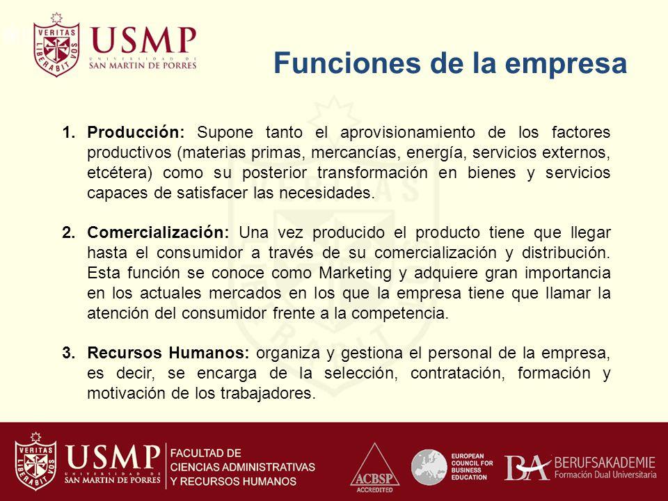 Funciones de la empresa 1.Producción: Supone tanto el aprovisionamiento de los factores productivos (materias primas, mercancías, energía, servicios e