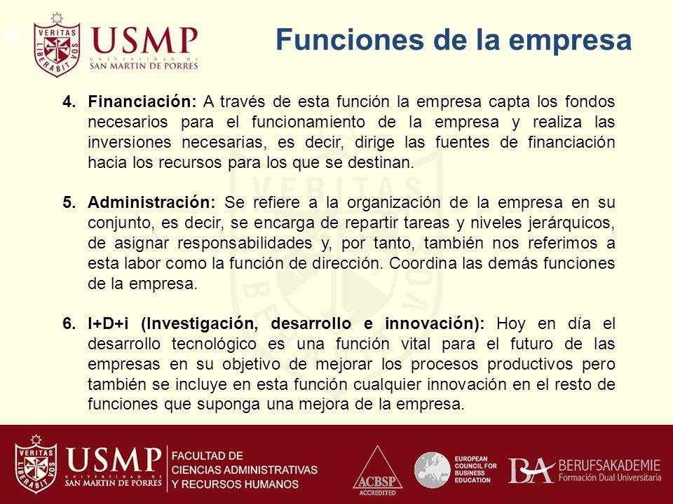 Funciones de la empresa 4.Financiación: A través de esta función la empresa capta los fondos necesarios para el funcionamiento de la empresa y realiza