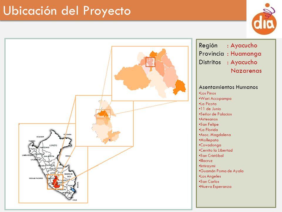 Región: Ayacucho Provincia: Huamanga Distritos: Ayacucho Nazarenas Asentamientos Humanos Los Pinos Wari Accopampa La Picota 11 de Junio Señor de Palac